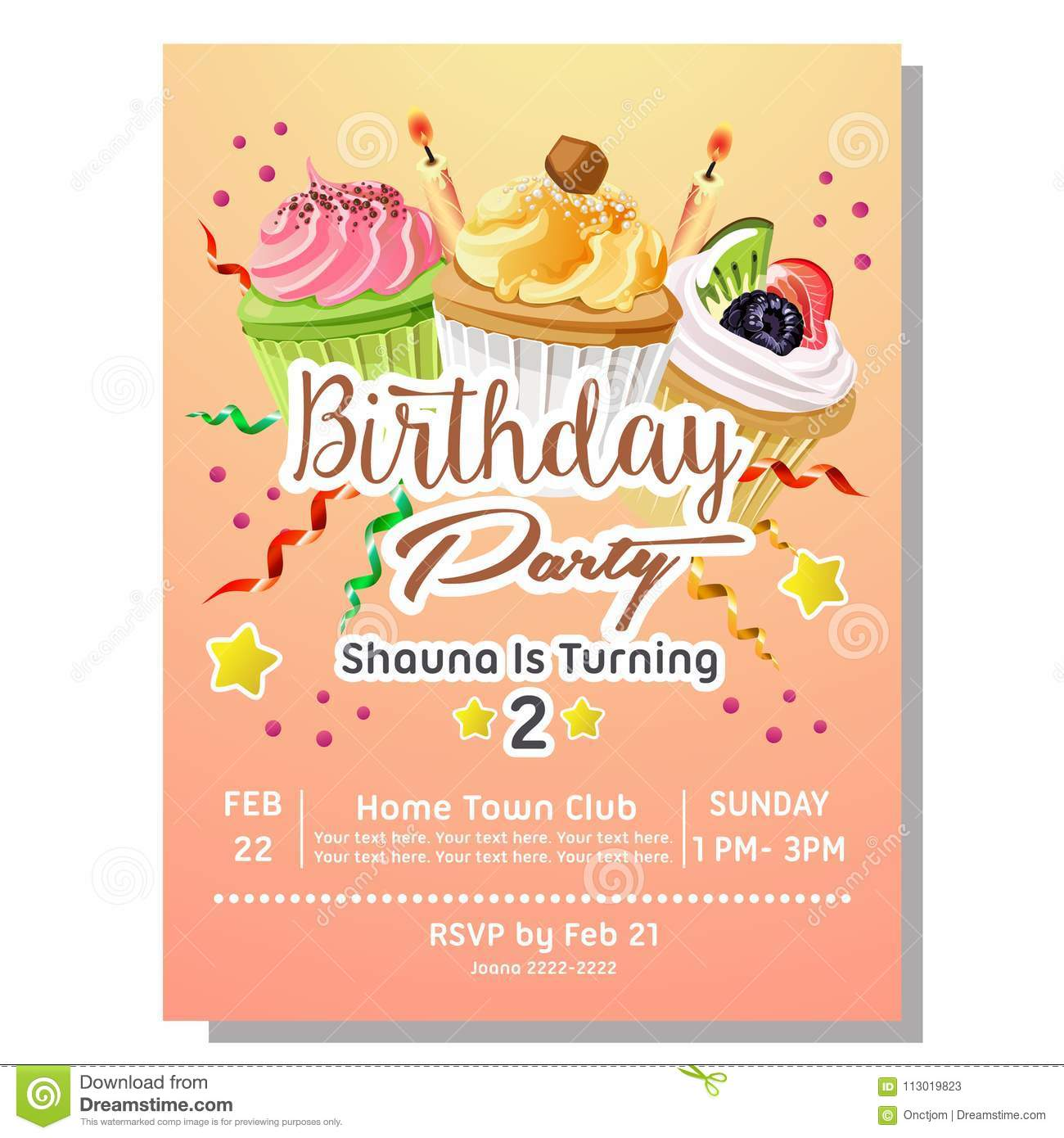 2nd Birthday Party Invitation Card Template With Delicious Cupcakes