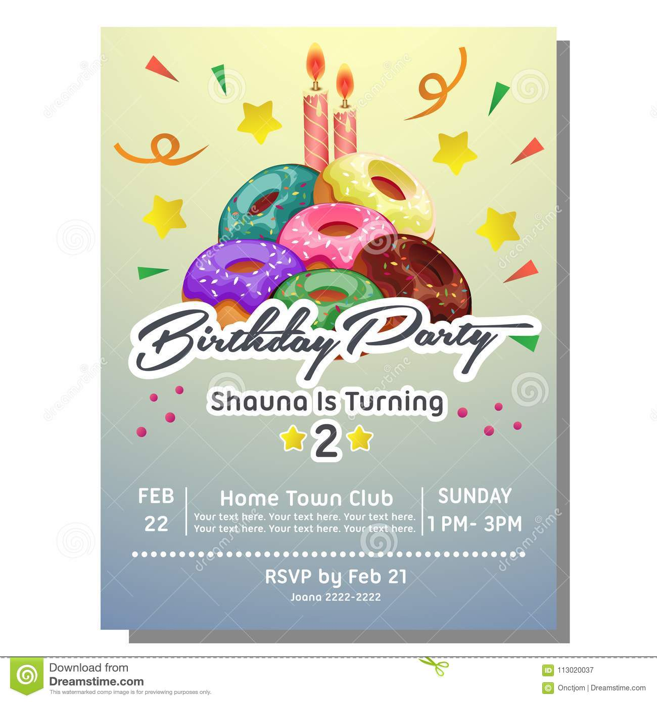 2nd birthday party invitation card template with donut tower
