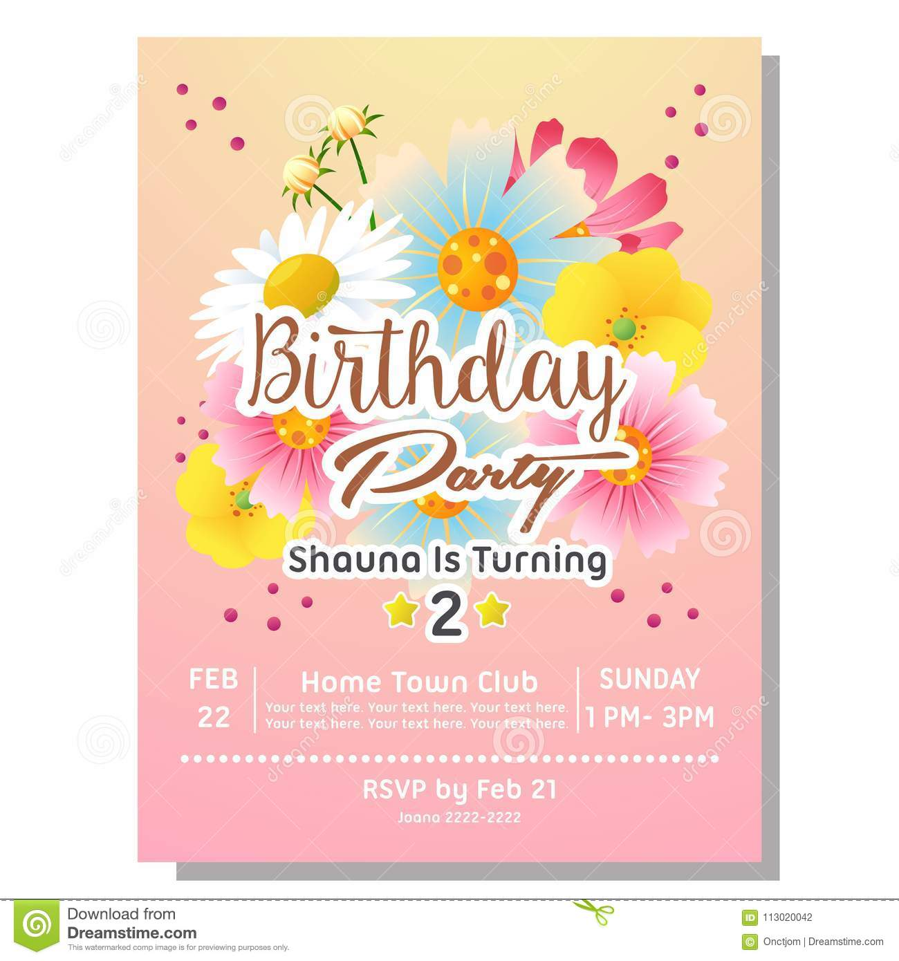 2nd birthday party invitation card with flower stock vector