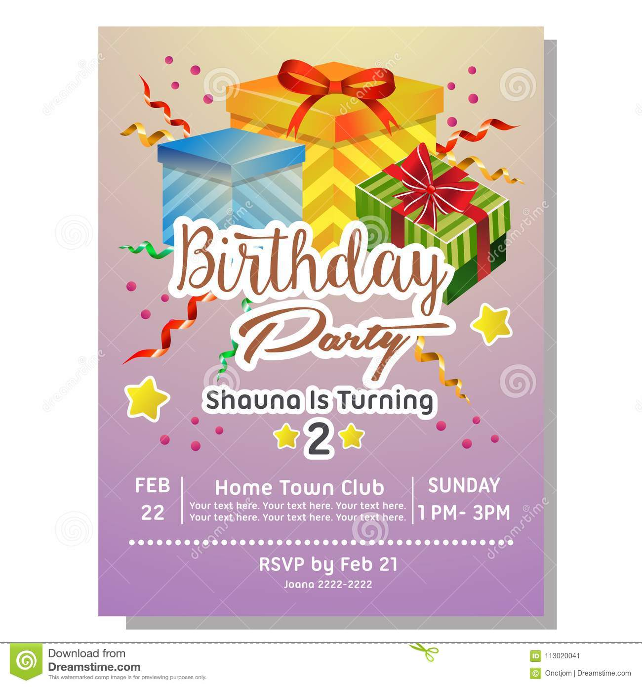 2nd Birthday Party Invitation Card With Giftbox Stock Vector