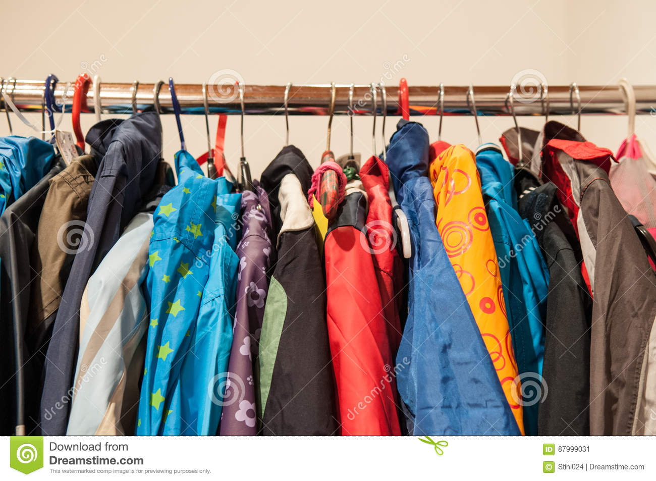 aea86c173bf7 2nd Hand Clothes On Hangers Stock Image - Image of childrens