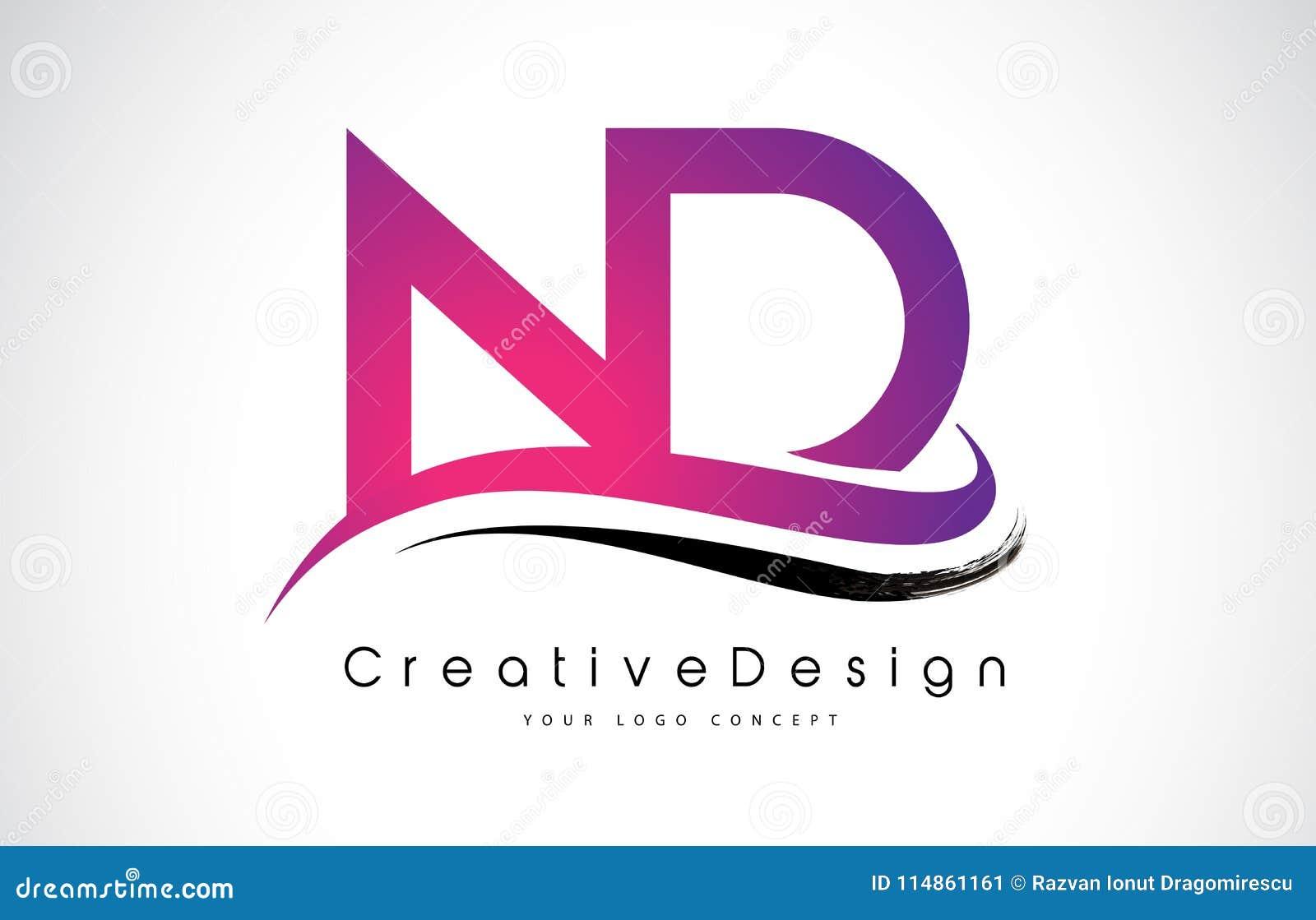 ND N D Letter Logo Design. Creative Icon Modern Letters Vector L ...