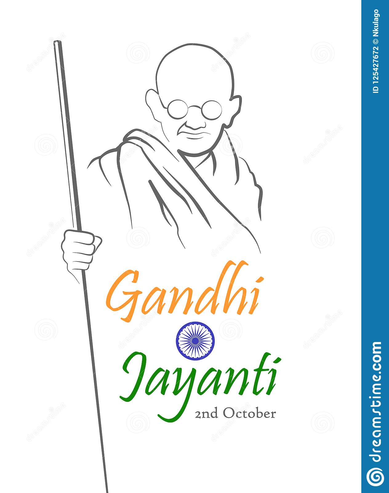 Gandhi jayanti abstract sketch of mahatma gandhi with inscription in shape of the indian flag