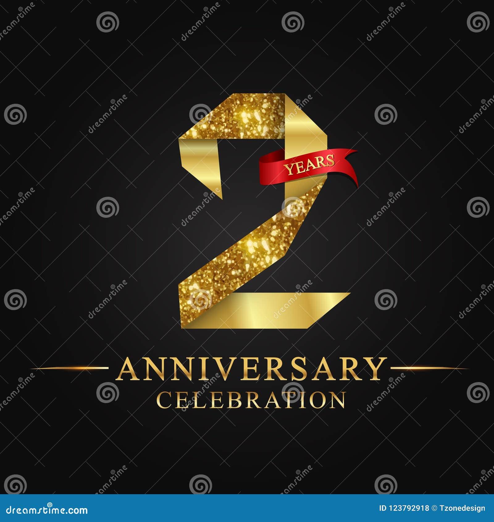 2nd rocznicowy roku świętowania logotyp Loga tasiemkowego złota numerowy i czerwony faborek na czarnym tle