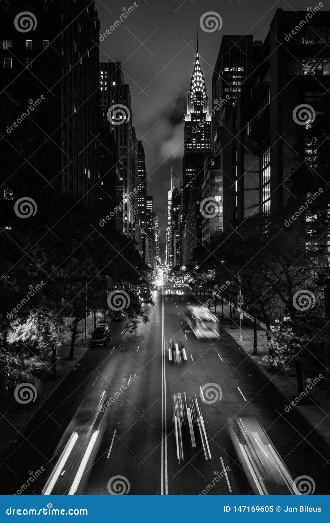 42nd Street at night from Tudor City, in Midtown Manhattan, New York City