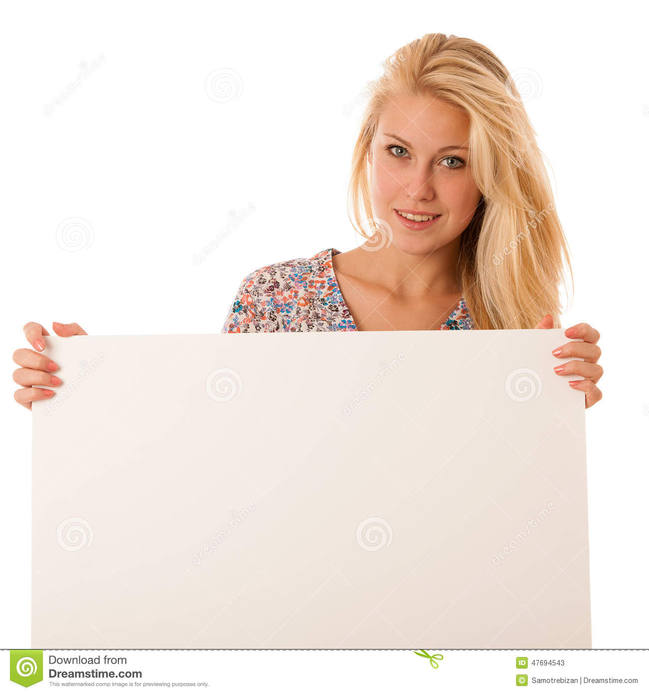 Woman Holding Board With Text Royalty-Free Stock ...