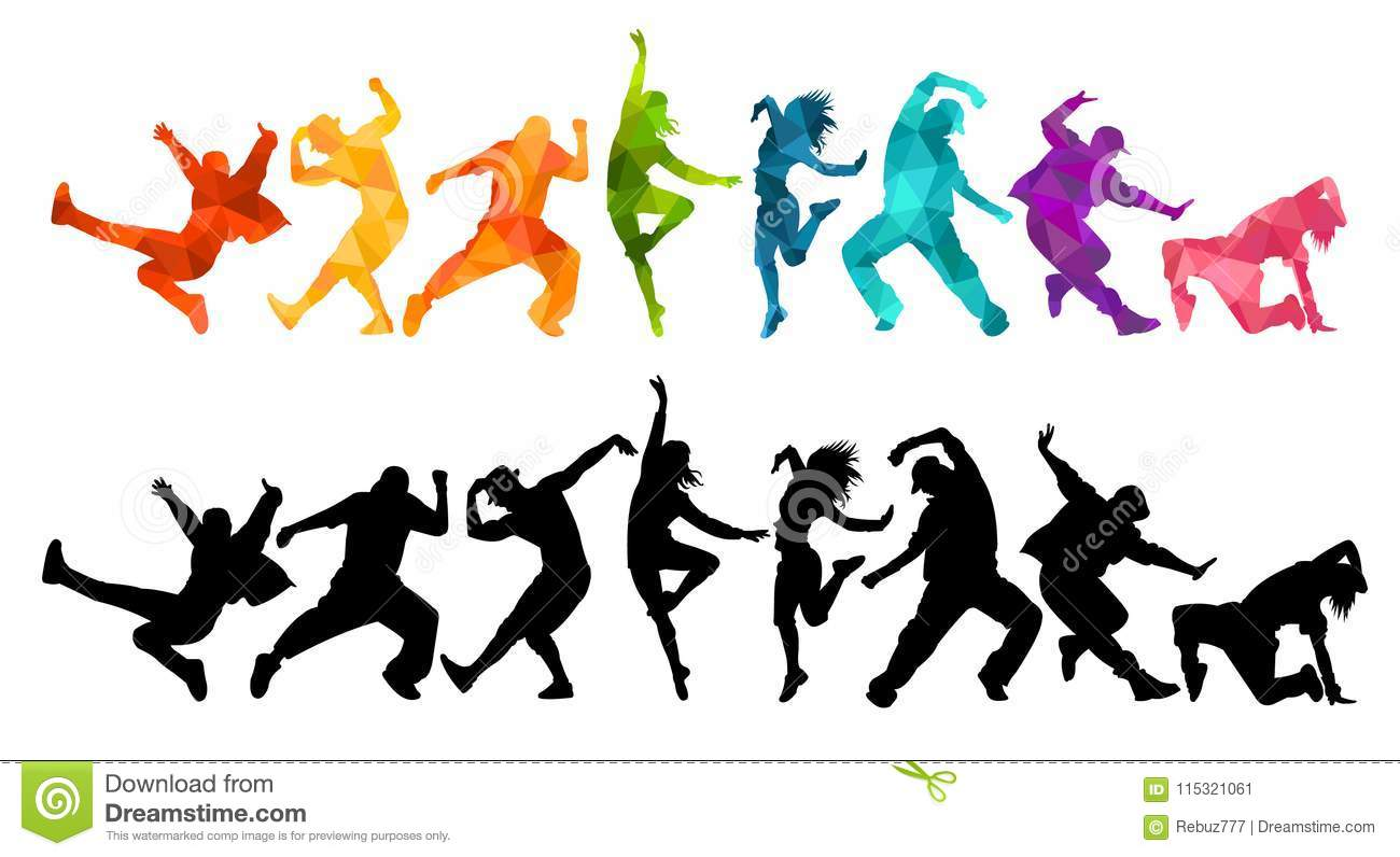 Detailed Illustration Silhouettes Of Expressive Dance People