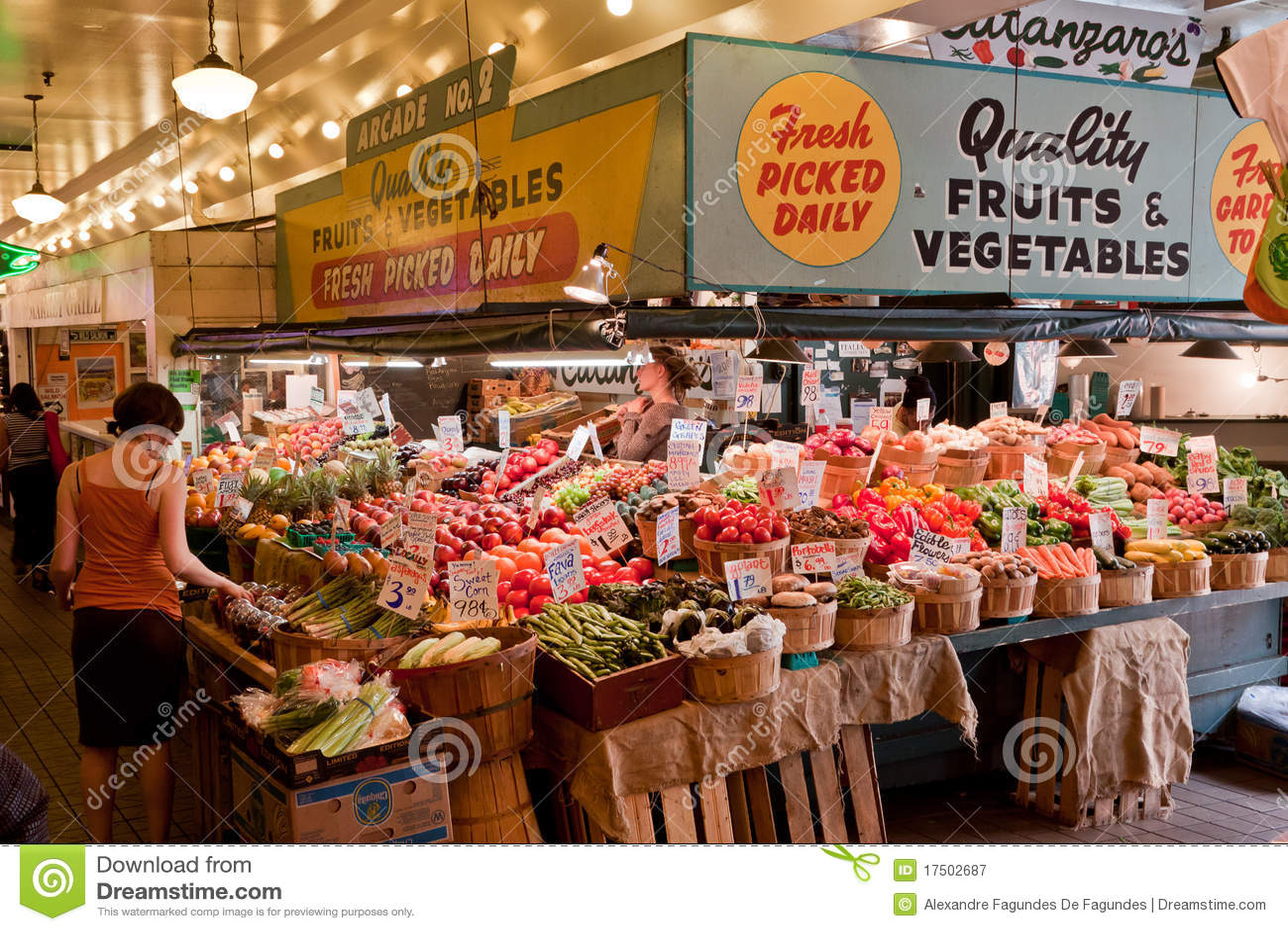 Neón Seattle del centro del mercado público
