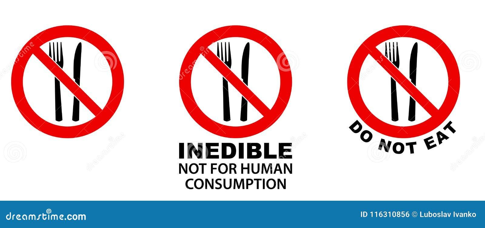 Ne mangez pas, non comestible, signe Fourchette et couteau en cercle croisé par rouge
