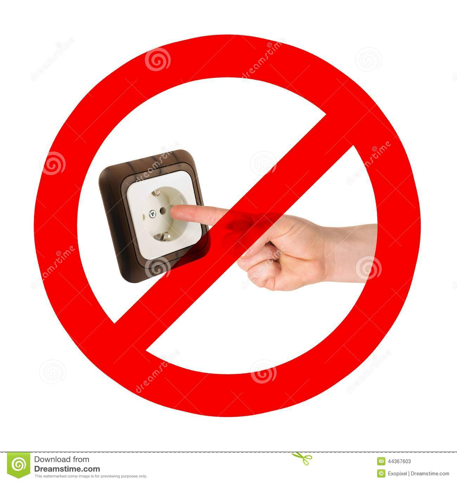 Ne mettez pas les doigts dans la prise photo stock image for Les dangers de l electricite