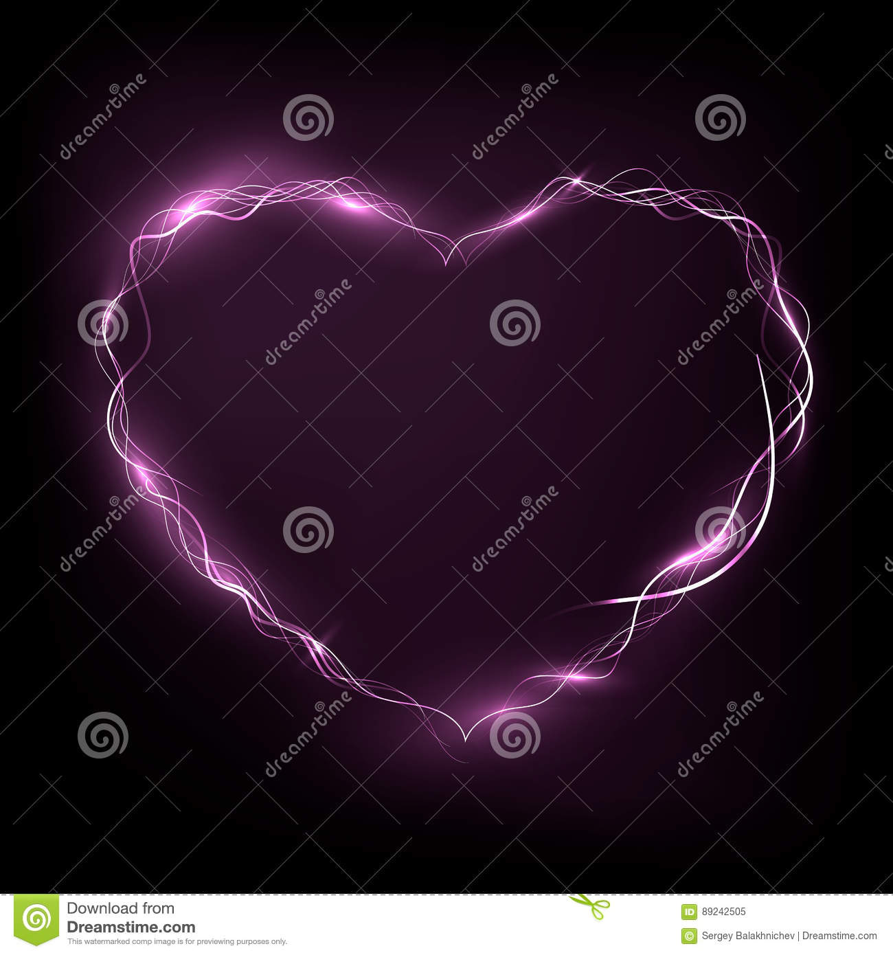 Nean heart glowing in the darkness