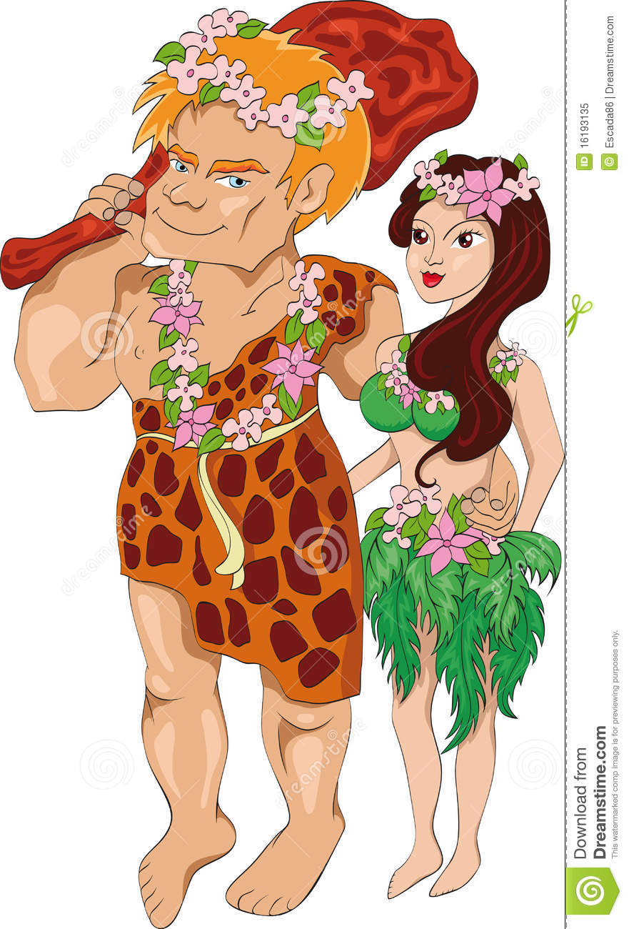 Caveman Wife : The neanderthal man with wife stock vector illustration