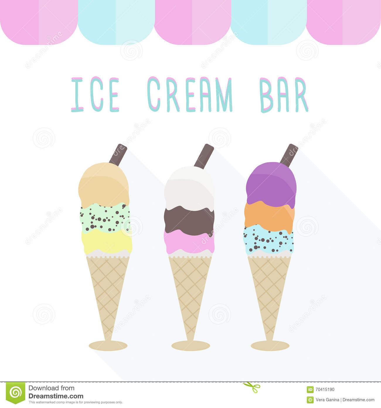 Pistachio Ice Cream Wallpapers High Quality: Neapolitan Ice Cream. 3 Scoops In One Cone, 9 Flavors