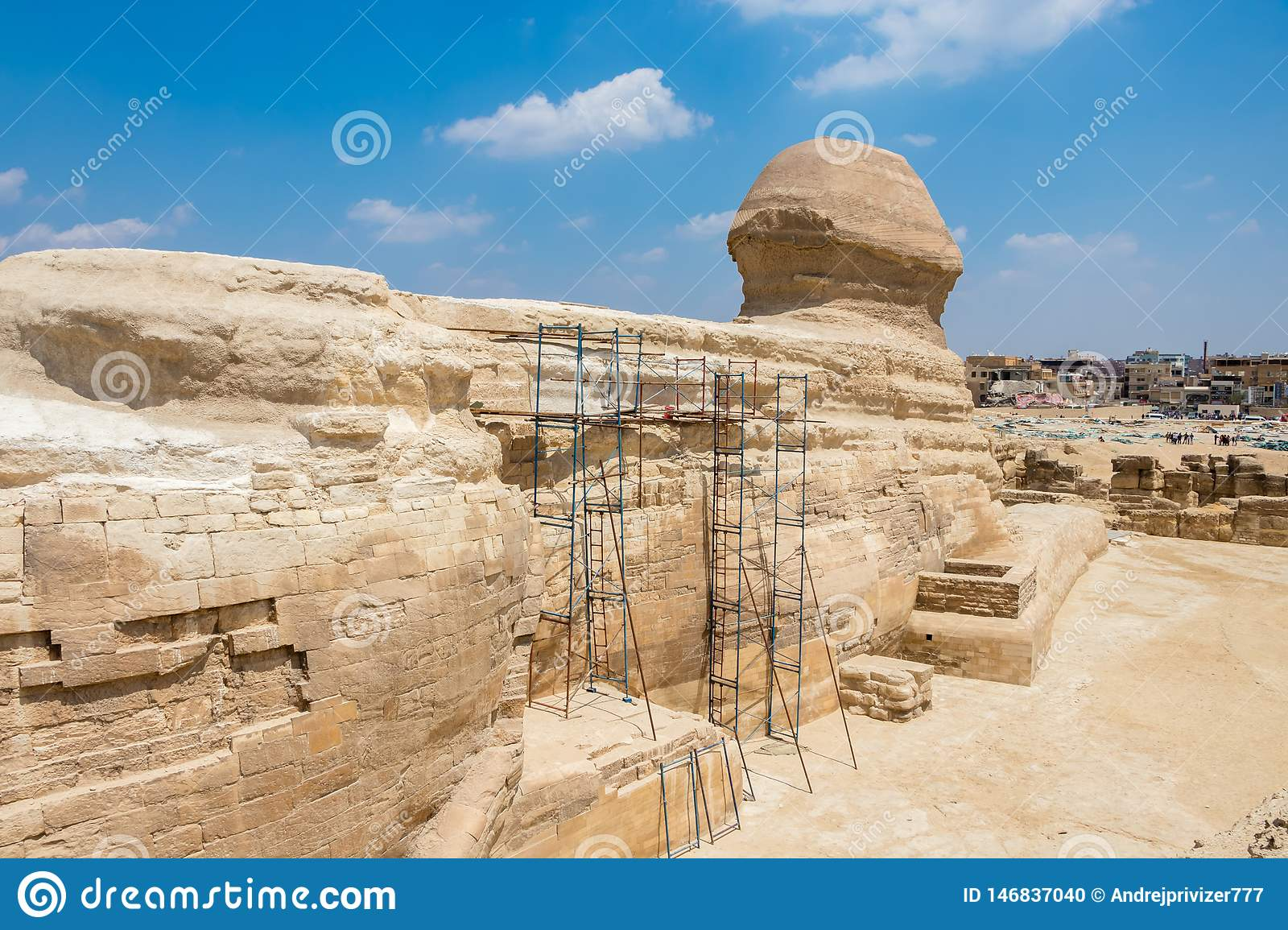 Famous Egyptian Sphinx at Giza from the back side