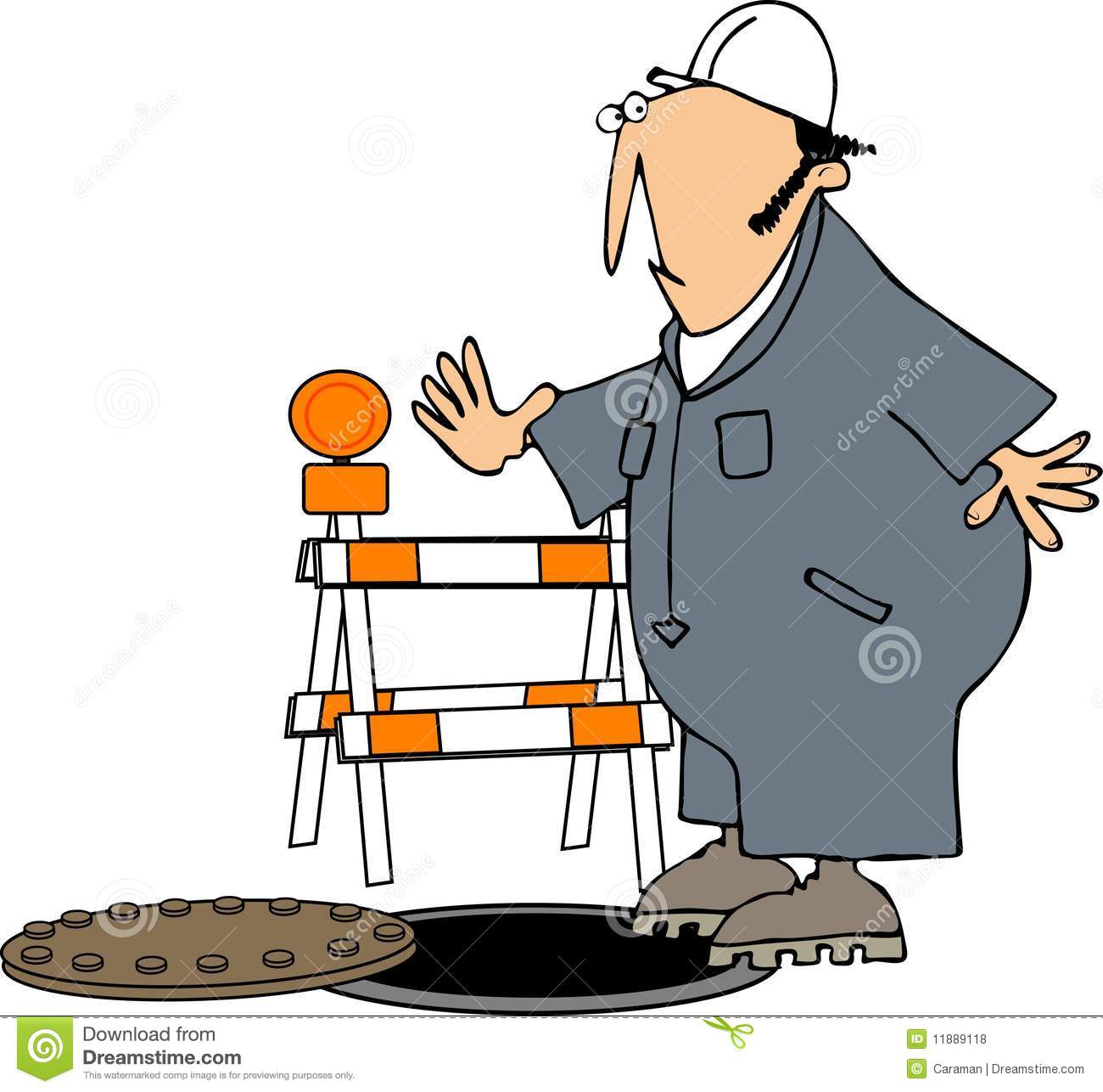 This illustration depicts a construction worker narrowly missing an ...