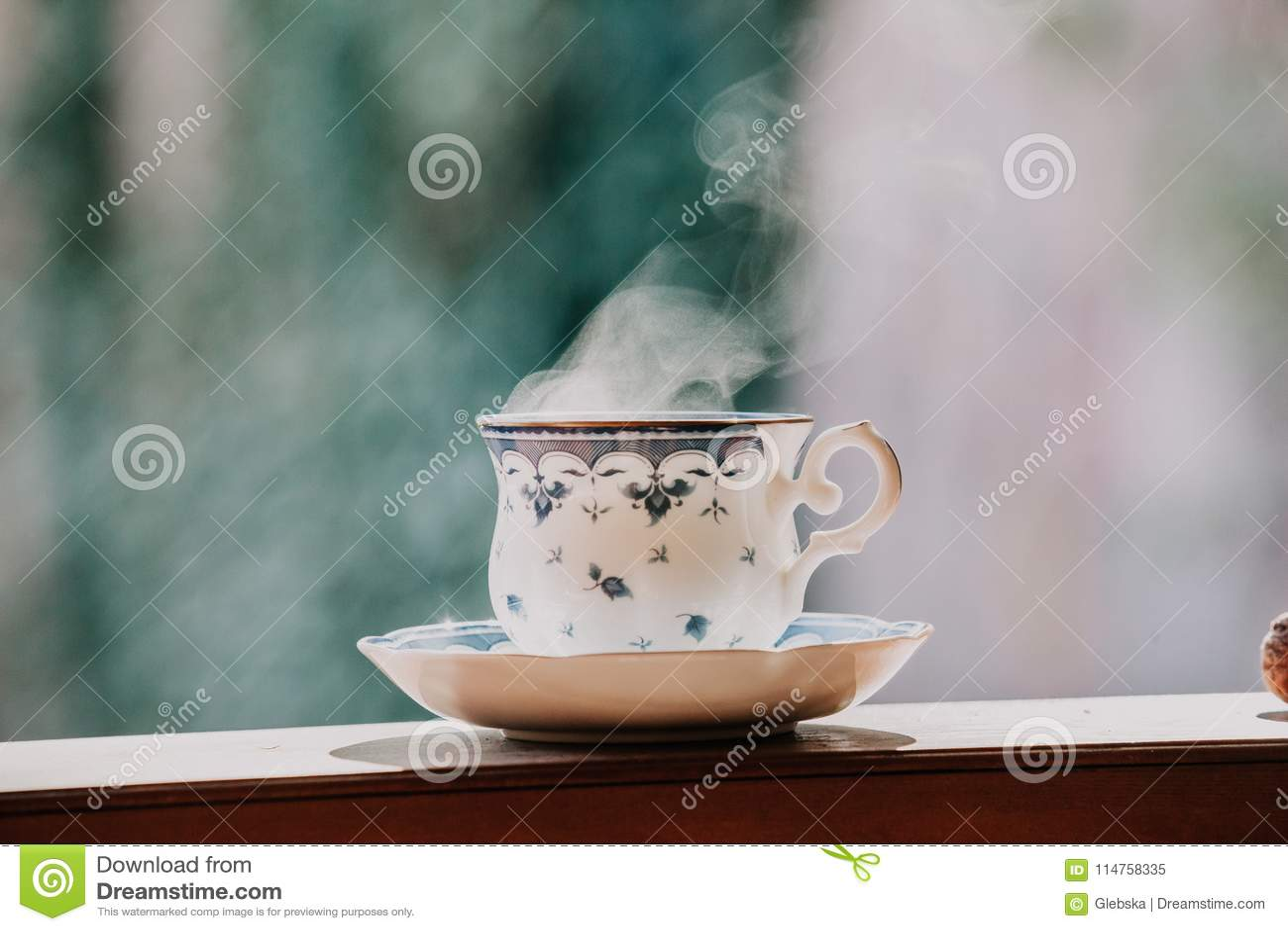 Elegant Tea Cup And Stand Shelf Stock Image Image Of English Wood