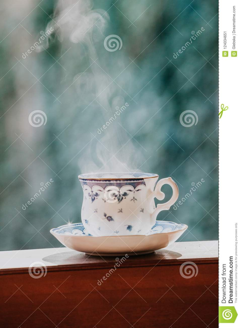 Elegant Tea Cup And Stand Shelf Stock Image Image Of Wood Saucer