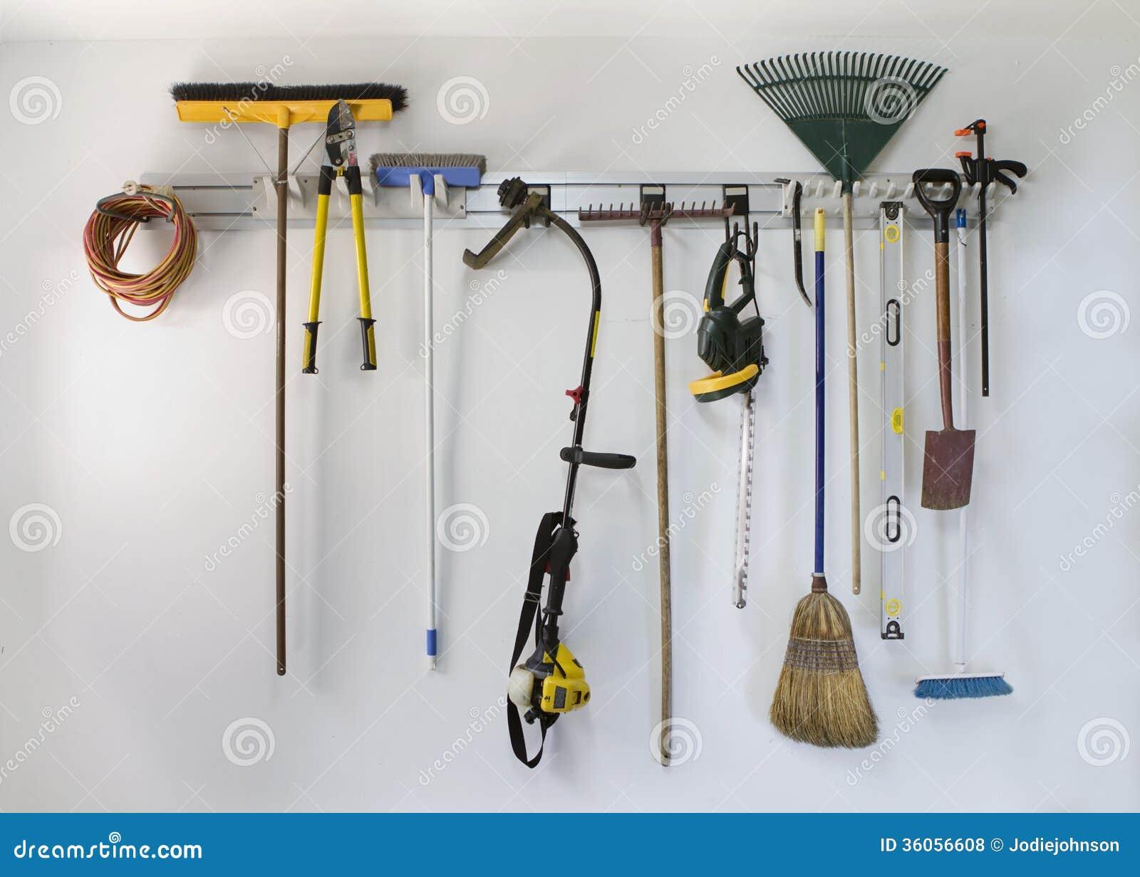 Neat Garage Tool Hanging Storage Royalty Free Stock Photos ...