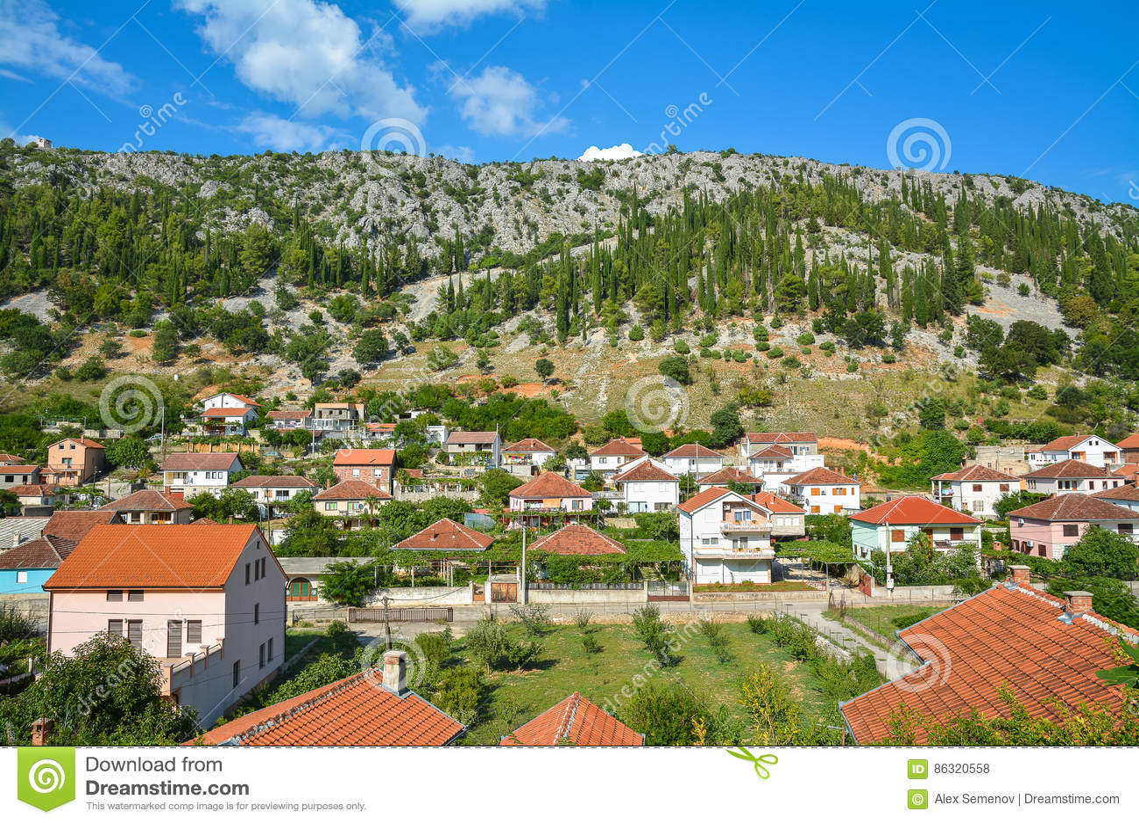 Neat Houses In The Small Town Trebinje, Bosnia And Herzegovina ...