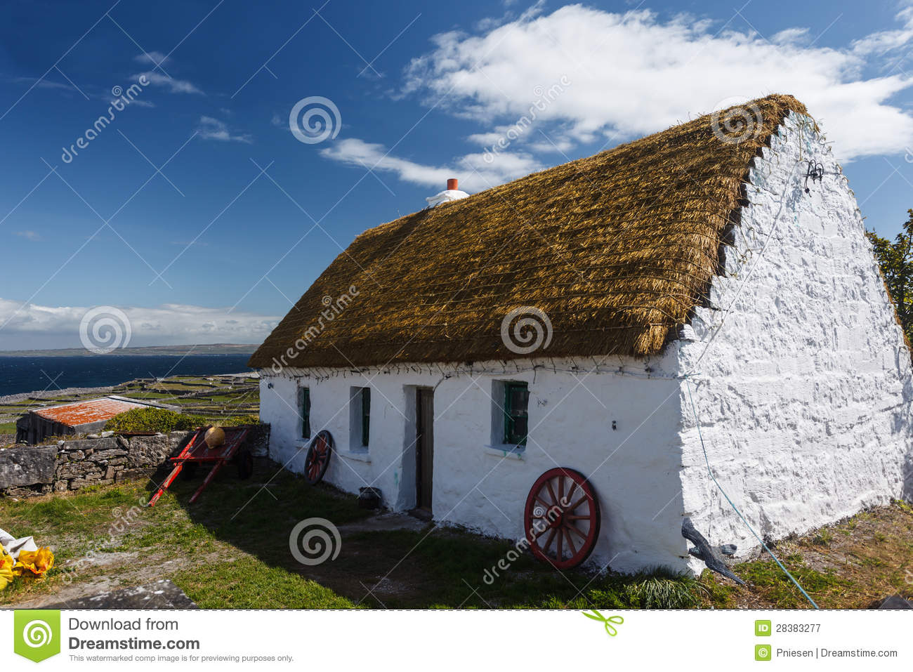 Neat Whitewashed Irish Cottage Island Inishee