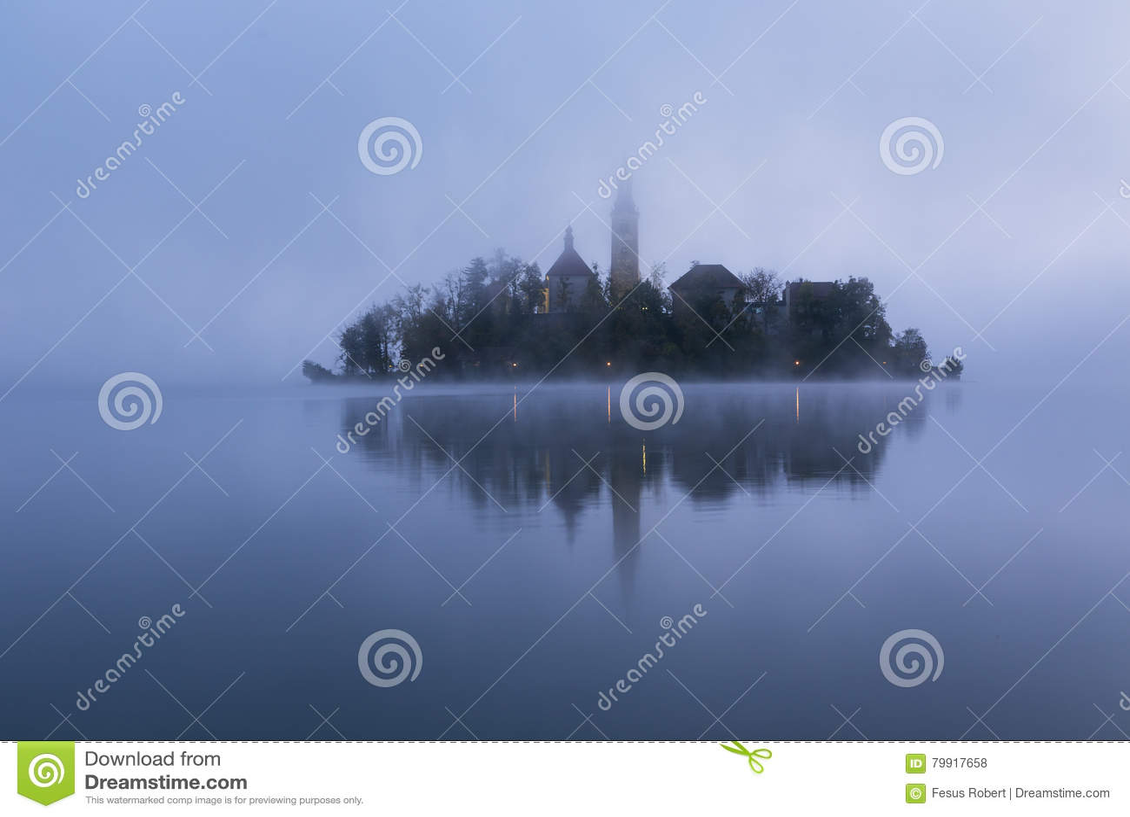 Nebelhafter Morgen im See geblutet