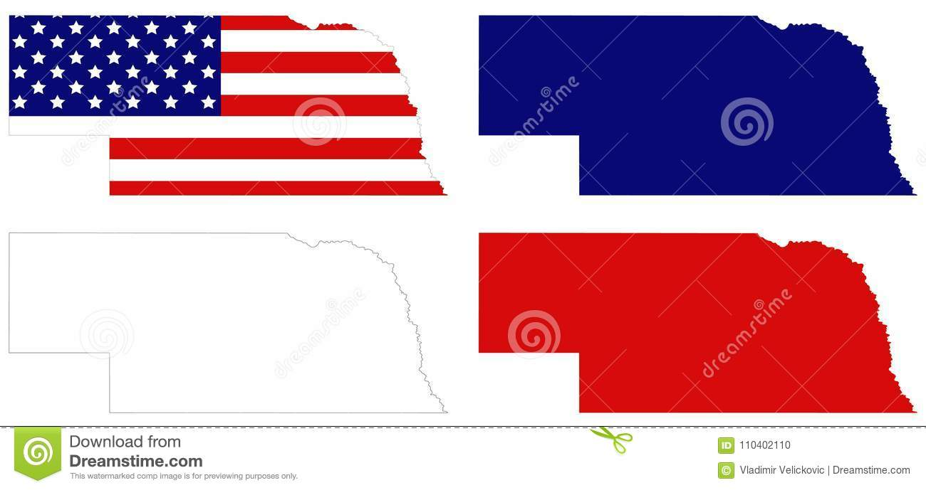 Nebraska Map With Usa Flag State That Lies In Both The Great - Us-map-great-plains