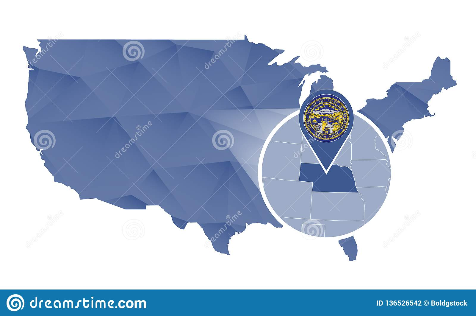 Nebraska State Magnified On United States Map Stock Vector