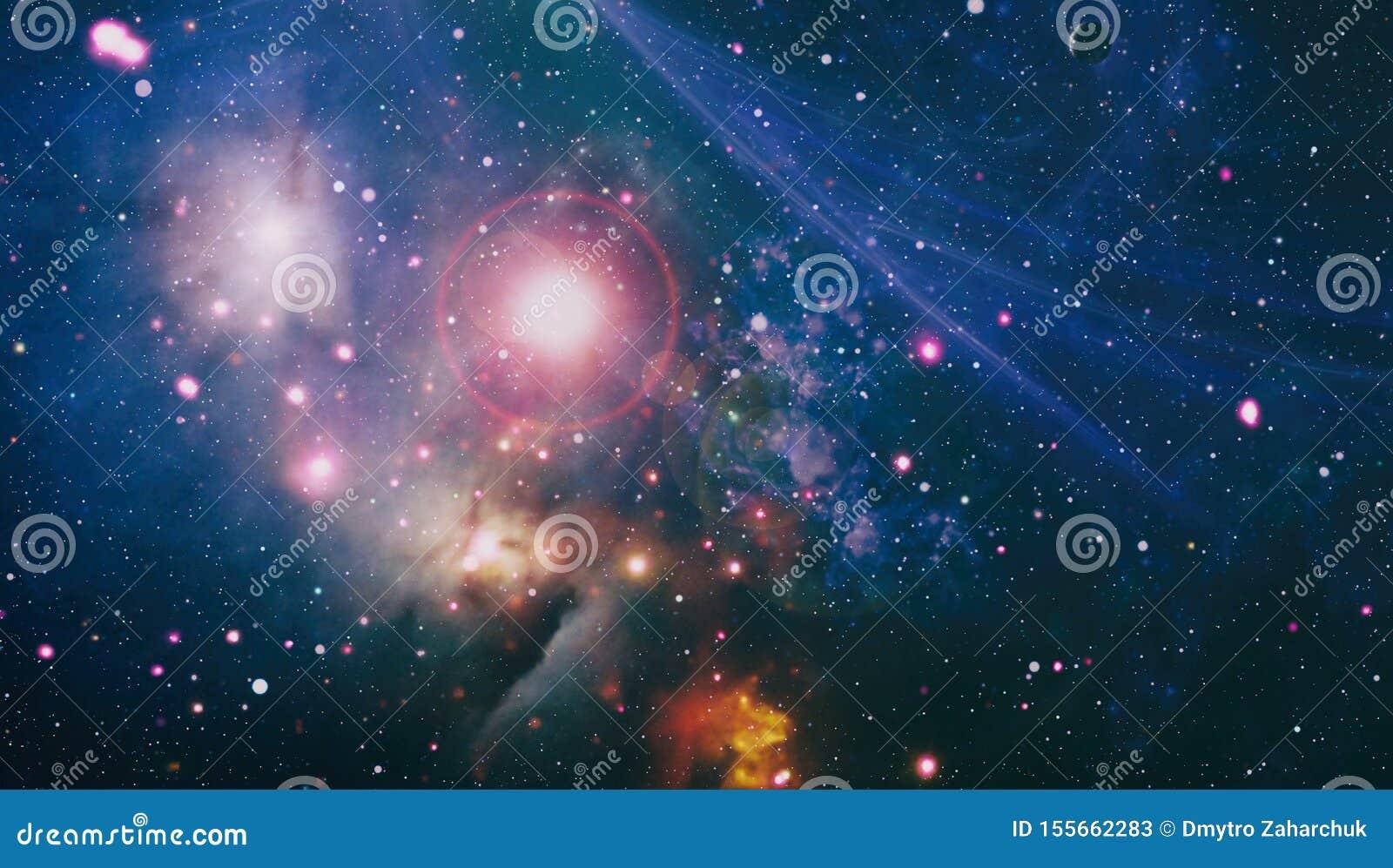 Nebula Night Starry Sky In Rainbow Colors Tar Field And Nebula In