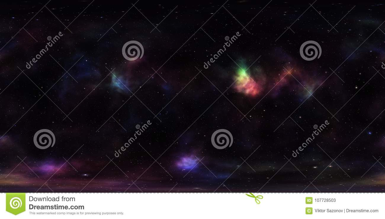 Nebula And Stars In Outer Space 360 Degree Spherical Panorama Stock