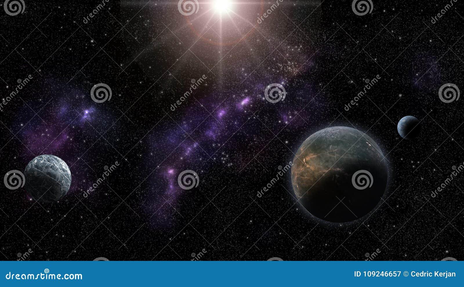 Nebulas, gwiazdy i planety, fantastyka naukowa i astro backround