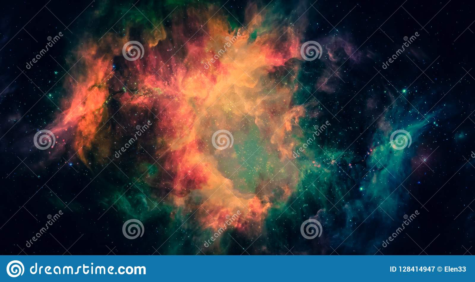 Nebulosa e galáxias no espaço