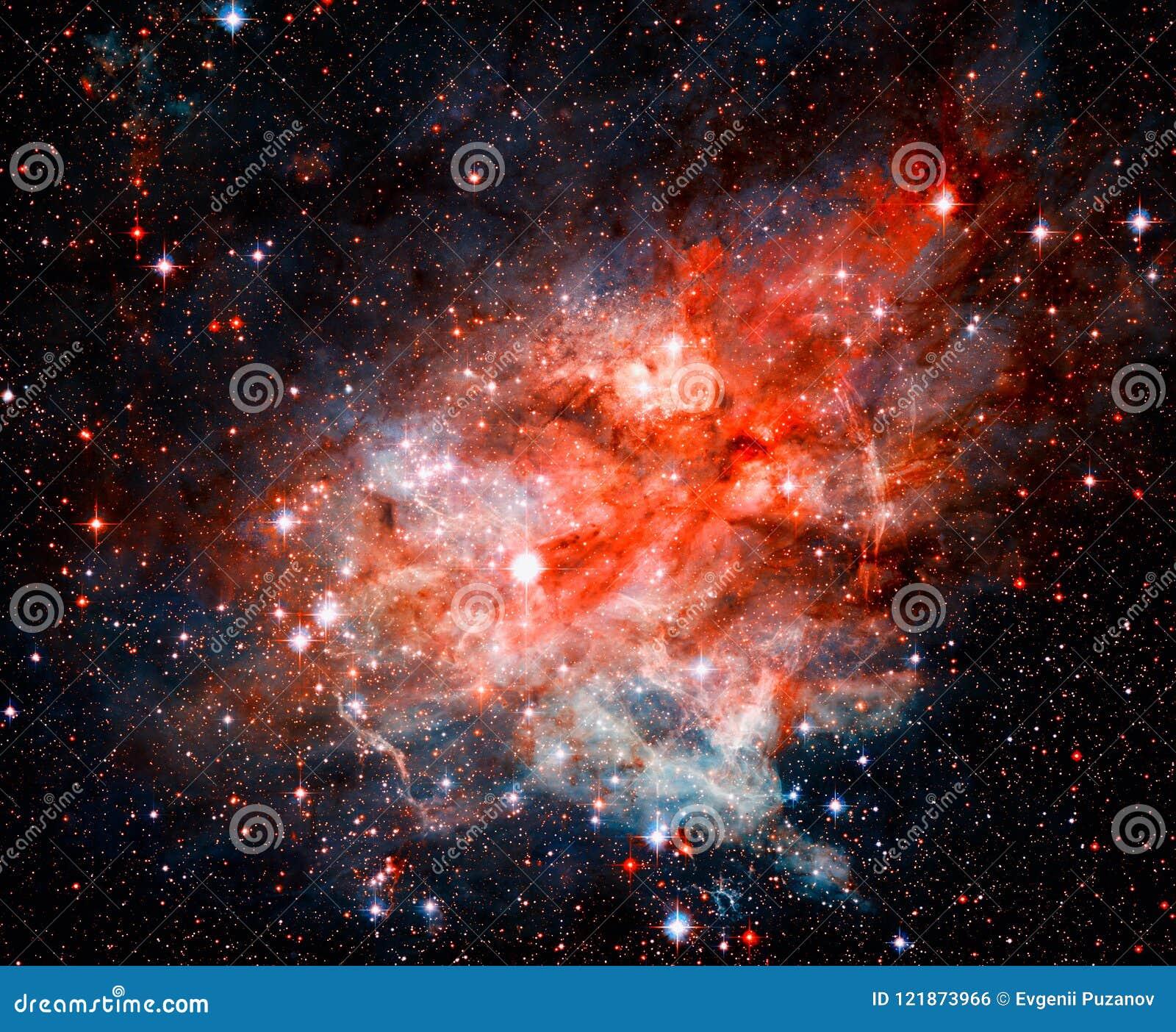 Nebulosa, stjärnor och galax i djupt utrymme