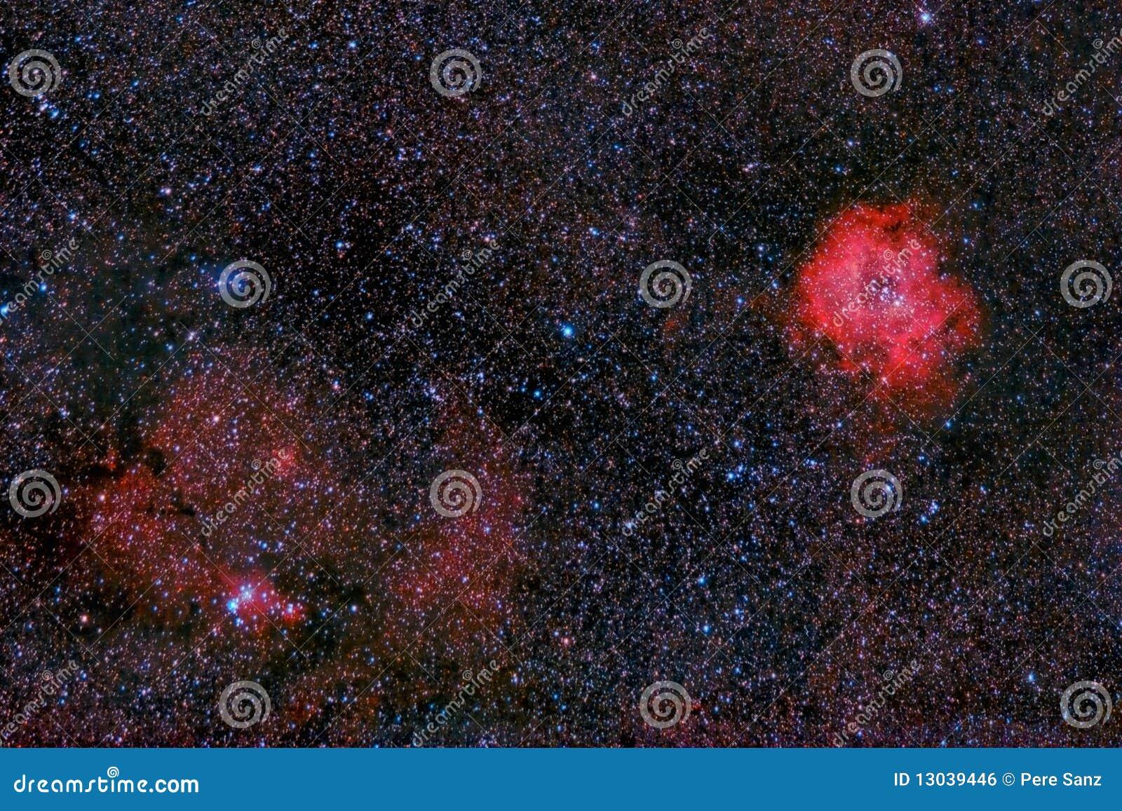 Nebulosas del rosetón y del cono de la manera lechosa