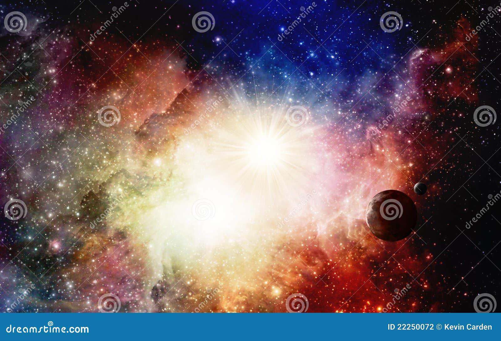 Nebulosas y supernova coloridas con los planetas