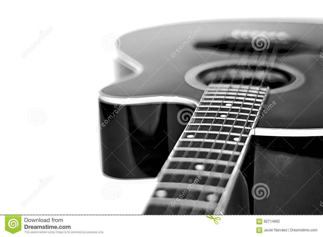 Neck of a guitar in black and white