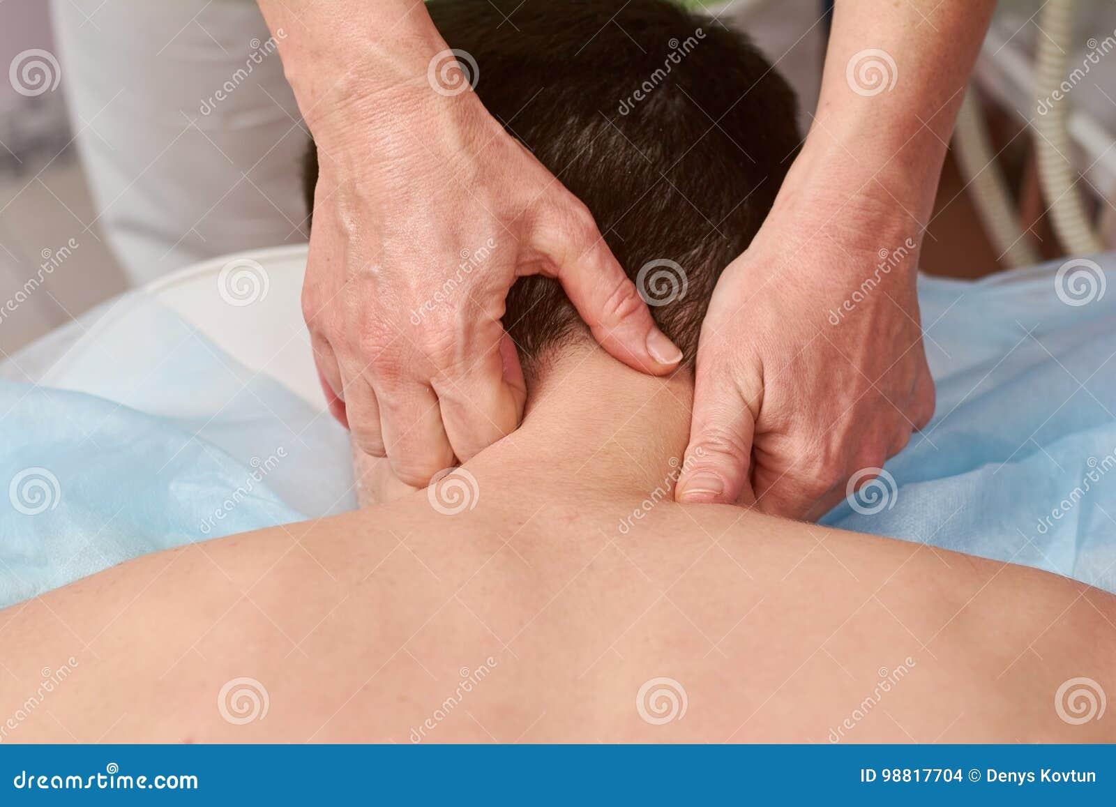 Neck massage close up.