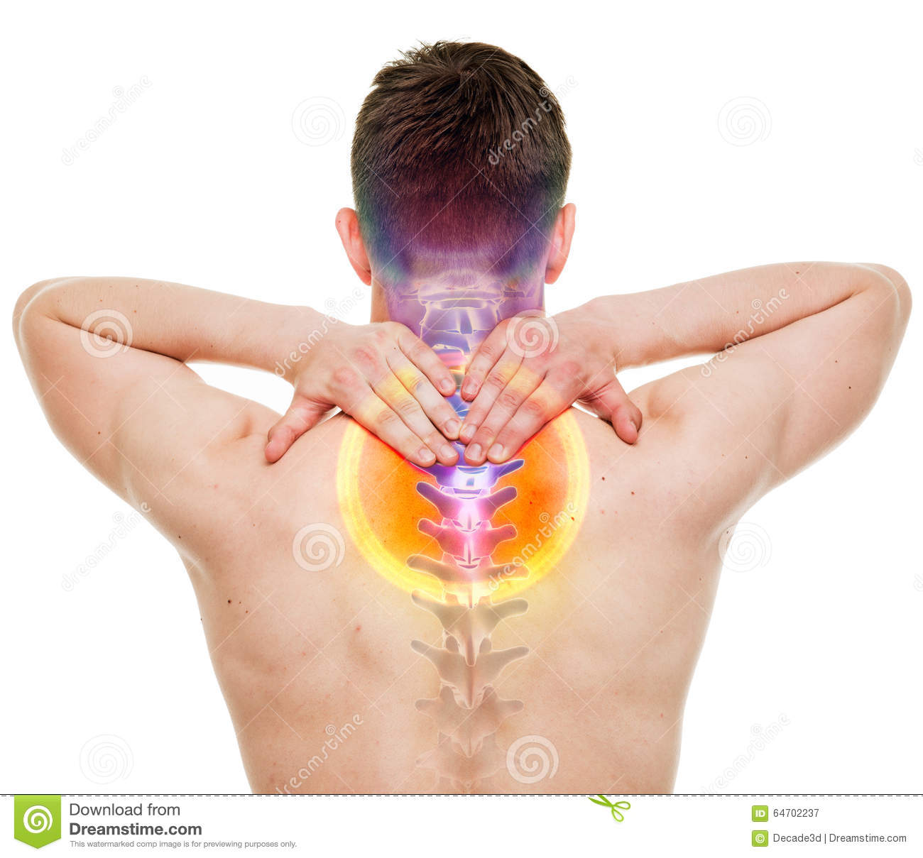 NECK Pain - Male Hurt Cervical Spine Isolated On White - REAL An ...