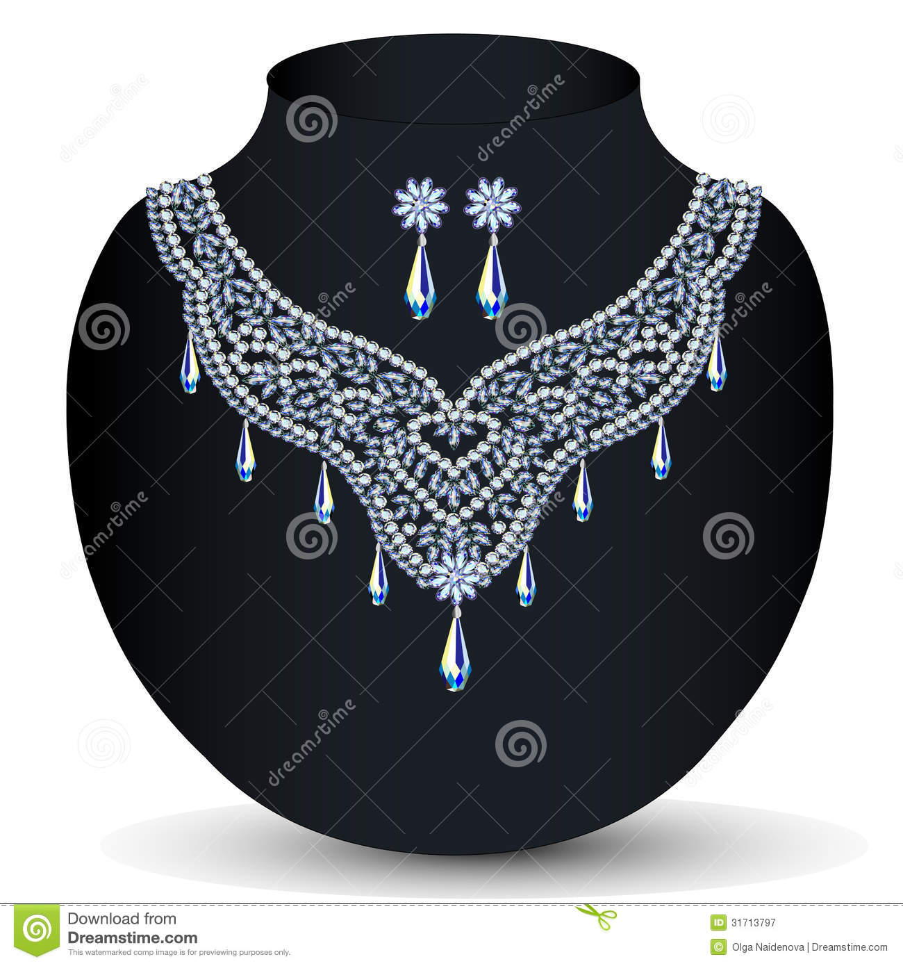 A Necklace With Her Wedding With Precious Stones Royalty ...