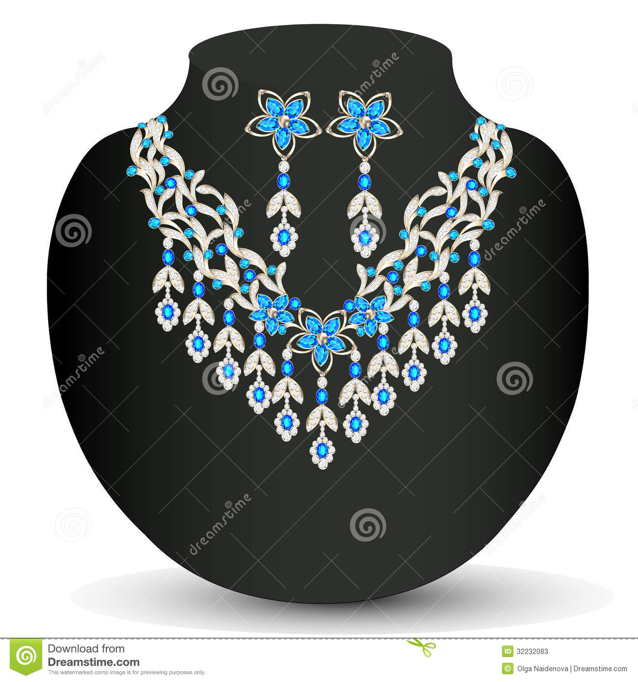Necklace With Her Wedding With Precious Stones Stock ...
