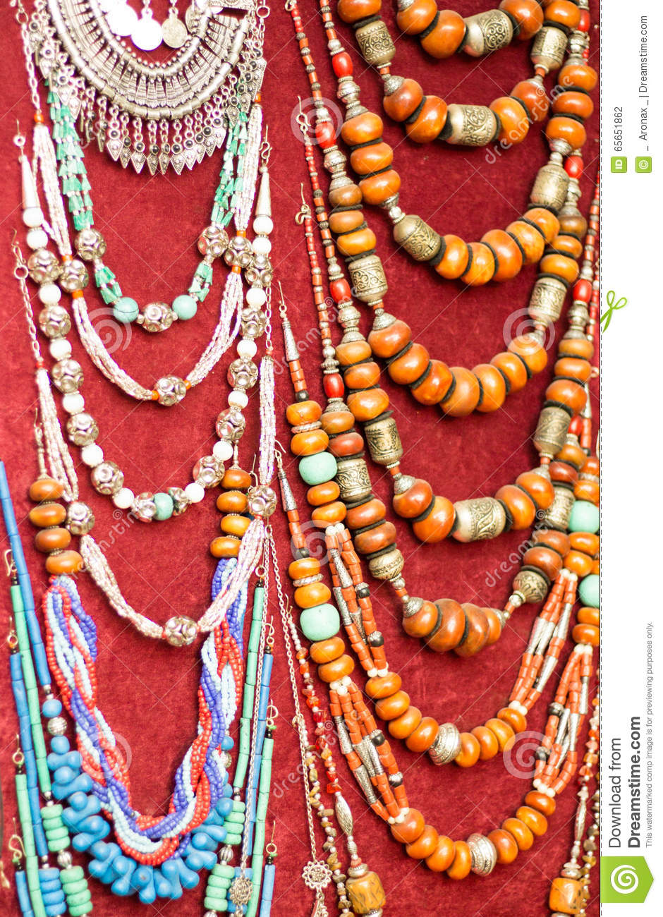 Necklaces in a market in Marrakesh