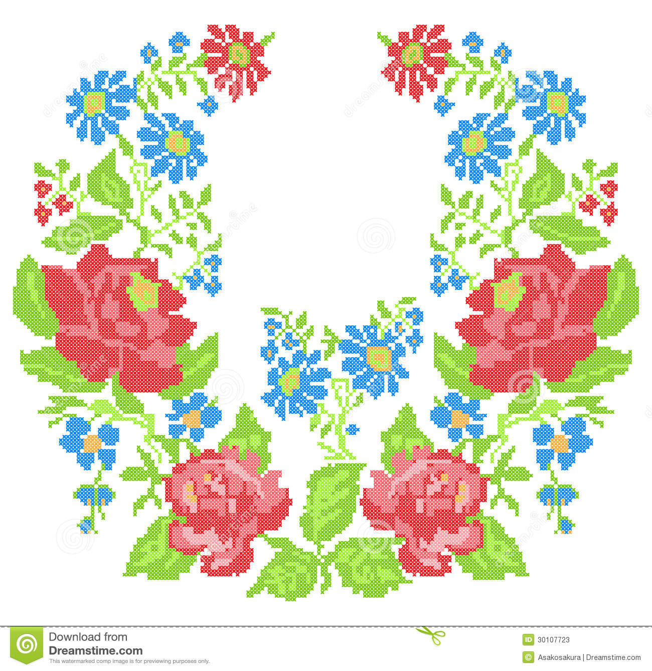 Neckline embroidery cross stitch with roses stock photos