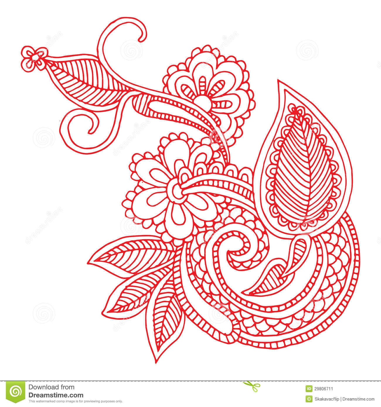Line Drawing Flower Designs : Neckline embroidery design stock illustration