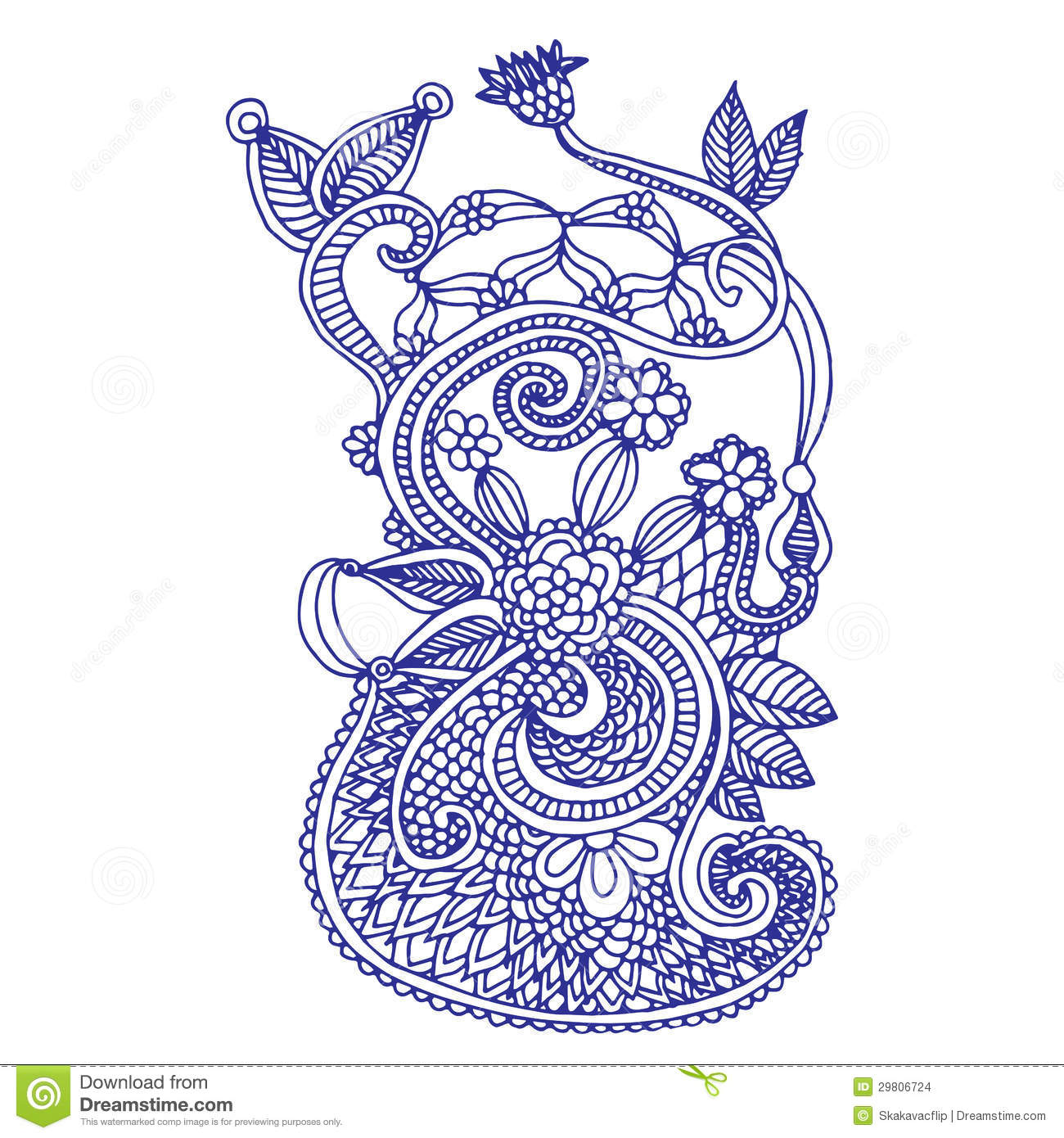 Floral Art Line Design : Neckline embroidery design stock illustration