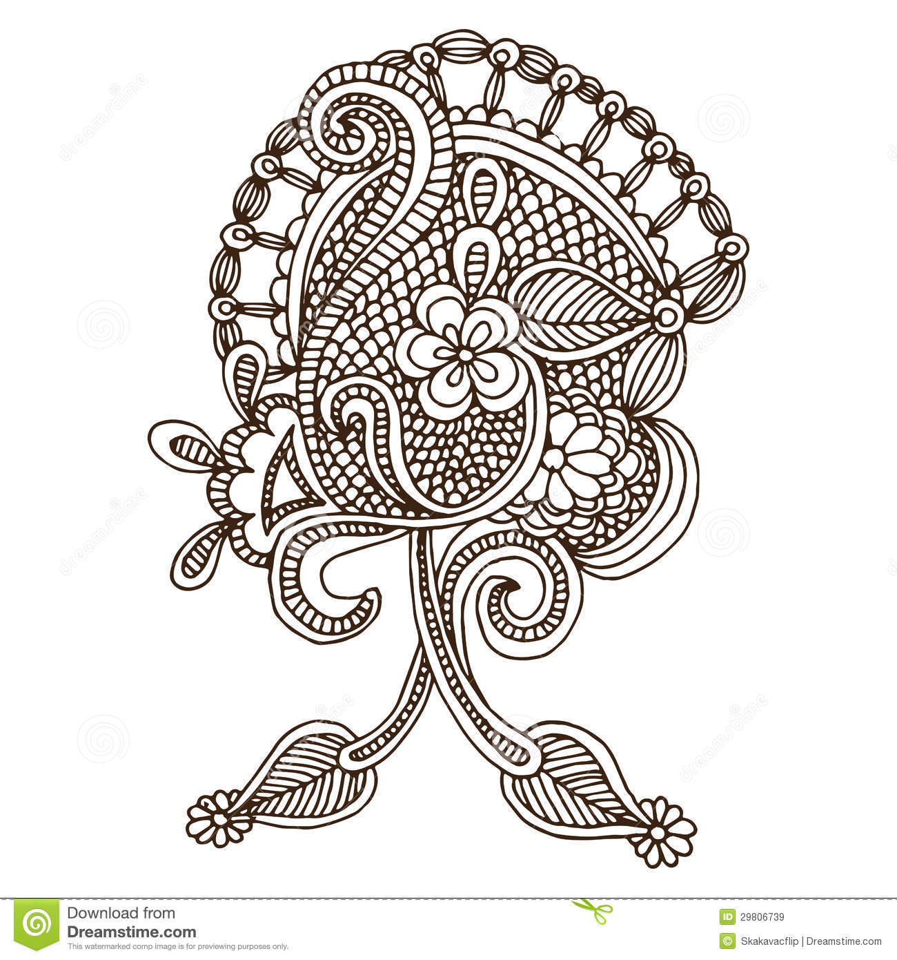 Line Drawing Flower Designs : Neckline embroidery design stock illustration image of
