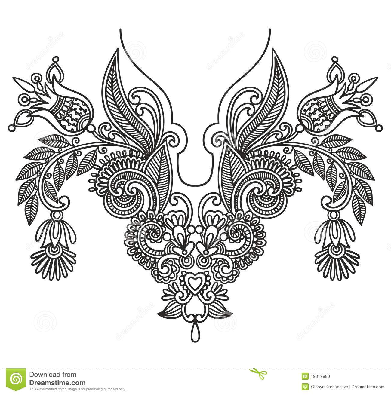 Neckline embroidery fashion stock vector illustration of Fashion embroidery designs