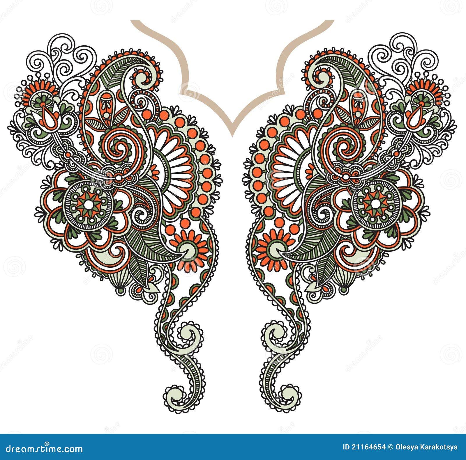 Neckline embroidery fashion stock vector image