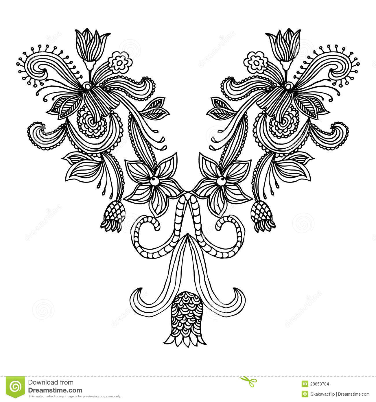 Neckline embroidery fashion stock vector image 28653784 Fashion embroidery designs