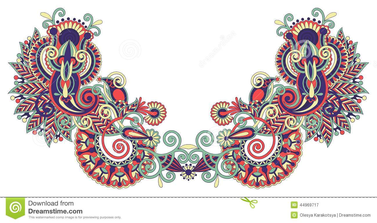 Neckline embroidery fashion stock vector image