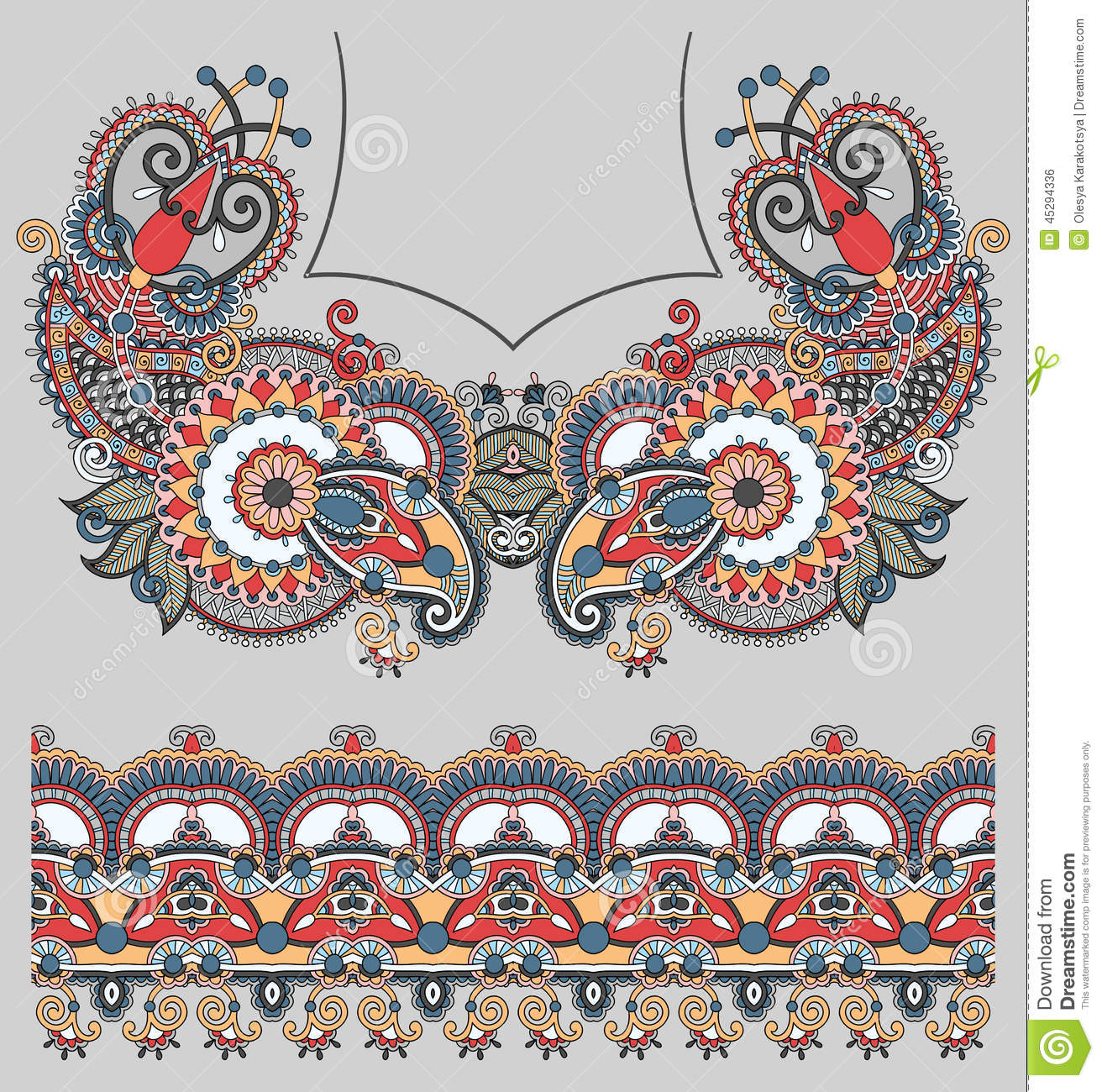 Neckline ornate floral paisley embroidery fashion stock Fashion embroidery designs