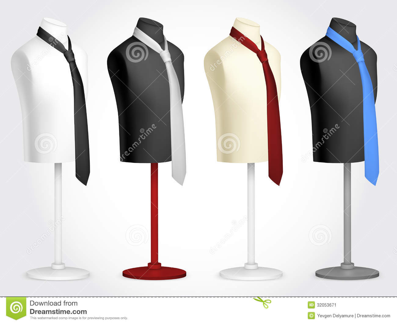 necktie on mannequin template stock vector illustration of clothes